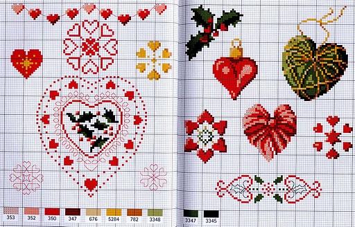 Схема вышивки сердечек.