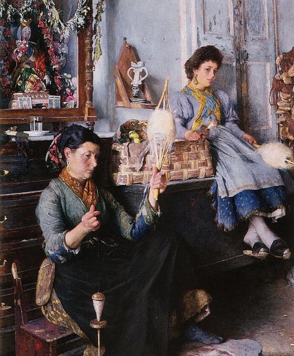 Marius Michel 1853- ... Venetian-Women-Spinning-Wool (578x700, 395Kb)