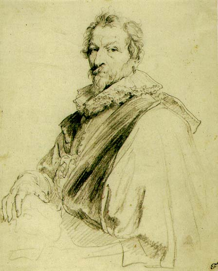 Self-portrait of Hendrick van Balen, Pencil on paper, 1625 by Anthony van Dyck (448x555, 43Kb)