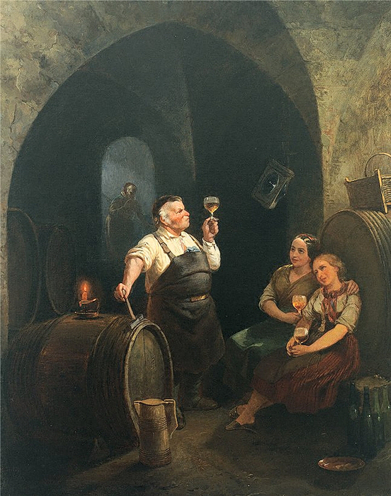 Meno Mühlig (1823  - 1873) «Kellermeister und zwei beseelte Mädchen bei der Weinprobe» (552x700, 369Kb)