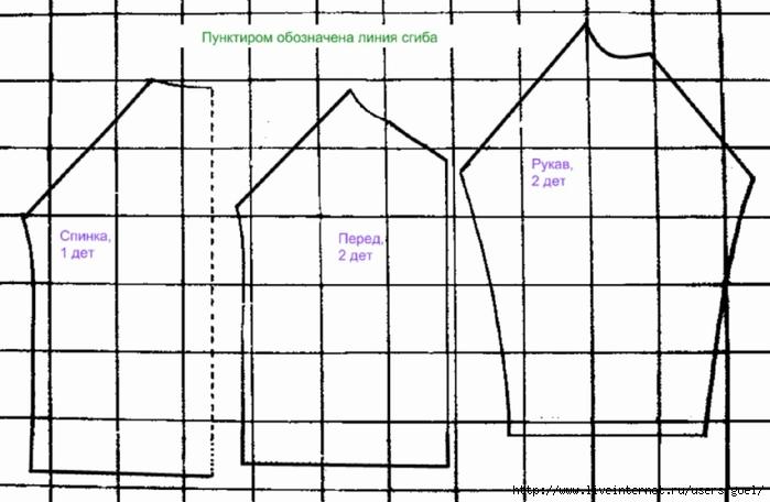 Схема выкройки трикотажной кофточки с рукавом реглан.