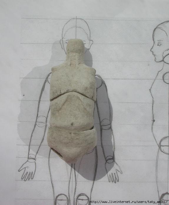 МК Шарнирная кукла из папье-маше и застывайки 2.