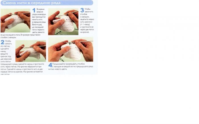 Как в вязании менять цвет нитей
