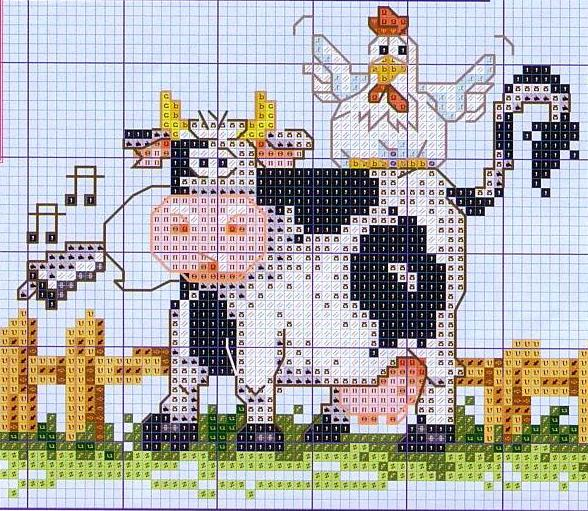Корова схема вышивки крестом схема