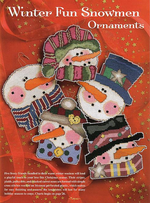 схема вышивки снеговиков на елку