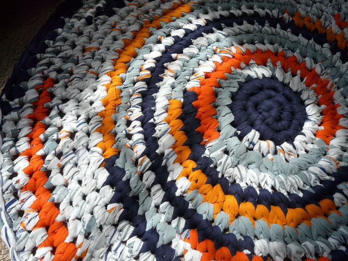 Вязанье ковриков из лоскутков
