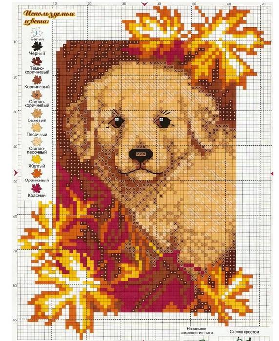 Схема вышивки крестом бесплатно щенок