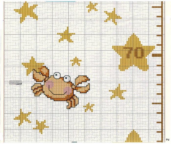 Ростомер со звёздочками - схема вышивки крестиком.