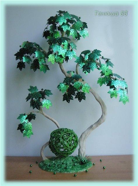 Деревья из паеток листиков мастер класс с пошаговым фото