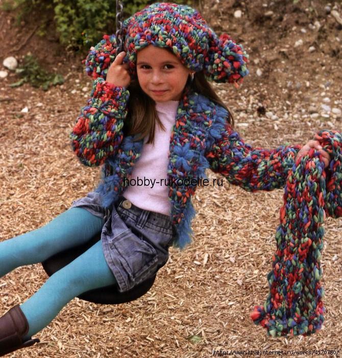 Комментарий: вязаная спицами шапка для детей.