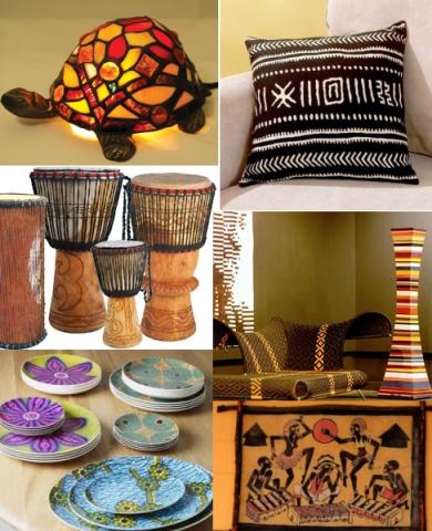 Аксессуары и элементы декора для интерьера в африканском стиле.