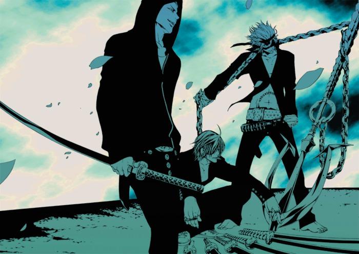 1315155920_3285__3boys_anchor_belt_chains_chosokabe_motochika_date_masamune_eyepatch_hoodie_katakura_kojuro_katana_monochrome_sengoku_basara_sword_weapon_mn (700x495, 89Kb)