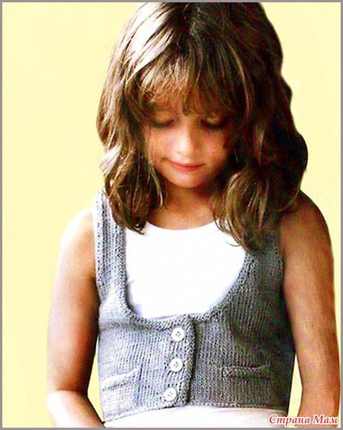 вязаный жилет для девочки спицами - Выкройки одежды для детей и взрослых.