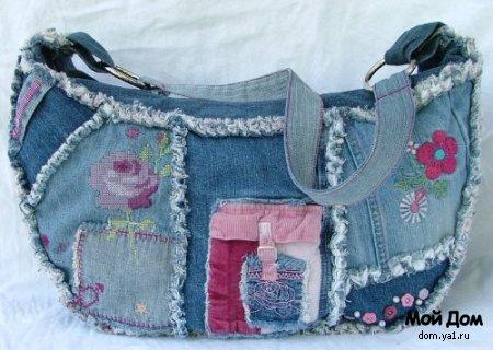 """Декор детских джинс.  Часть 2. Часть 4. Часть 5.  """"Часть 1. Efachka.  Новая сумка из старых джинсов."""