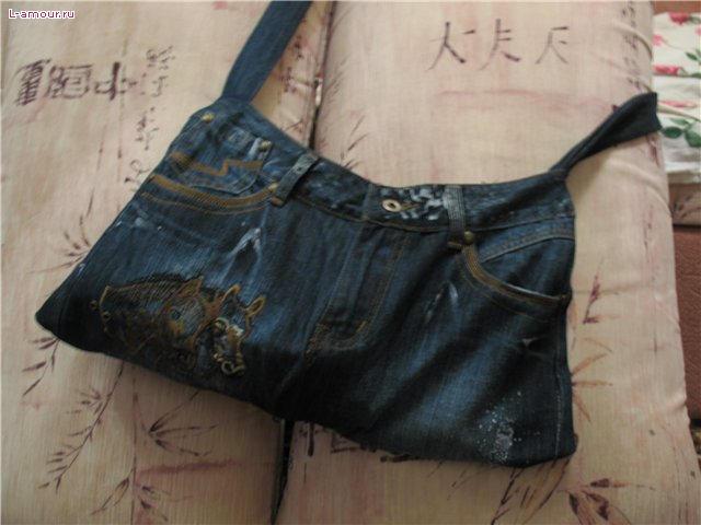 Описание: как сшить сумку из старых джинсов.