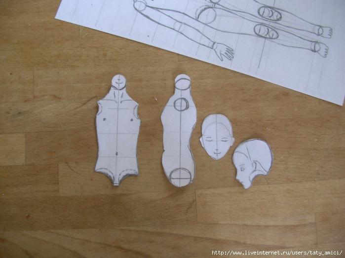 Вырезаем выкройку торса и головы в двух ракурсах.  МК Шарнирная кукла из папье-маше.