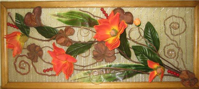 Настенные панно из искусственных цветов своими руками