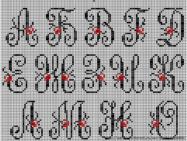 Схема вышивки русского алфавита крестом.