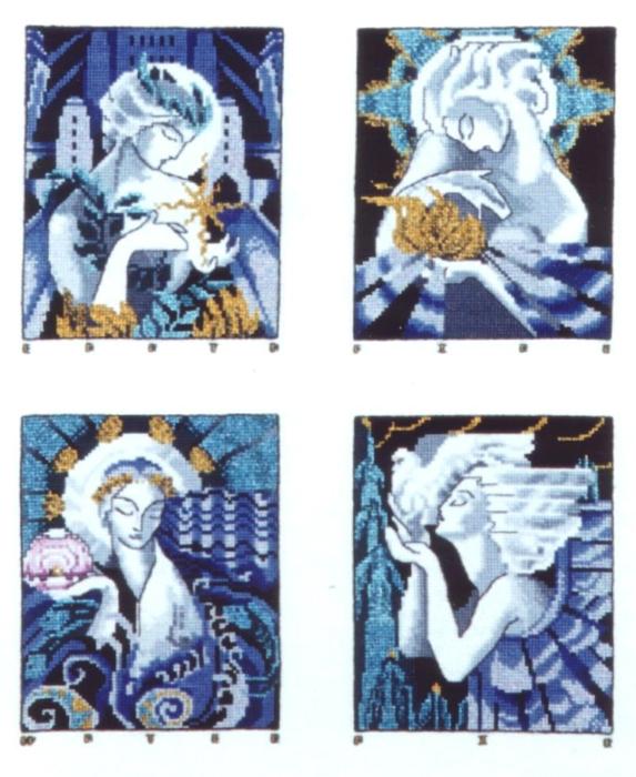 СХЕМА.  Рождественские ангелы.  Вышивка крестом, схемы.