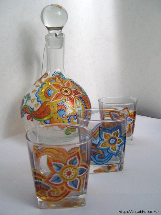 Кувшин и стаканы-подсвечники, Восточная сказка, витраж, акрил, автор Shraddha (0) (525x700, 230Kb)