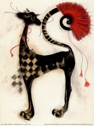 СХЕМА.  Черный кот с алым веером.  Вышивка крестом, схемы.