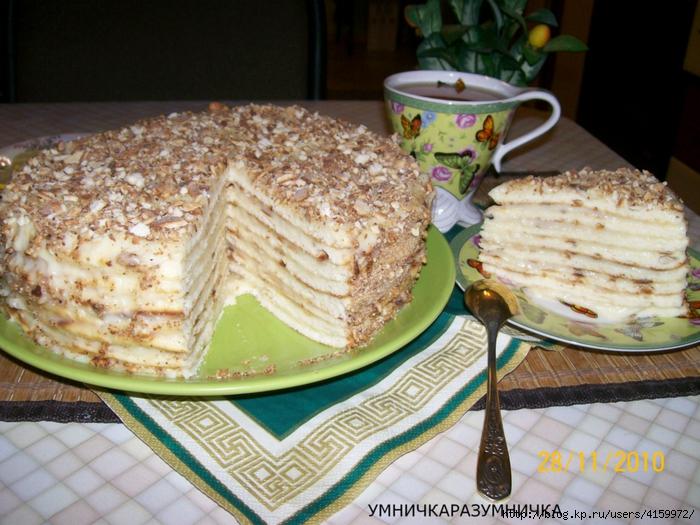 Торт на сковороде с сметанным кремом рецепт