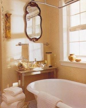 Основные черты ванной комнаты в стиле Прованс - аскетичная отделка...