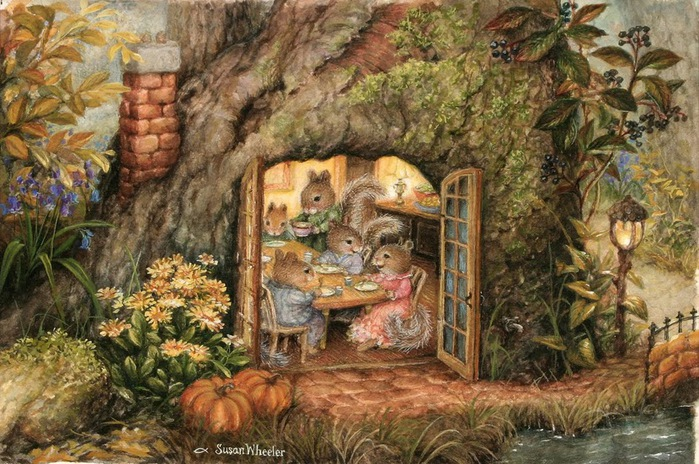 Squirrel Thanksgiving in Tree Trunk Susan Wheeler (700x464, 163Kb)
