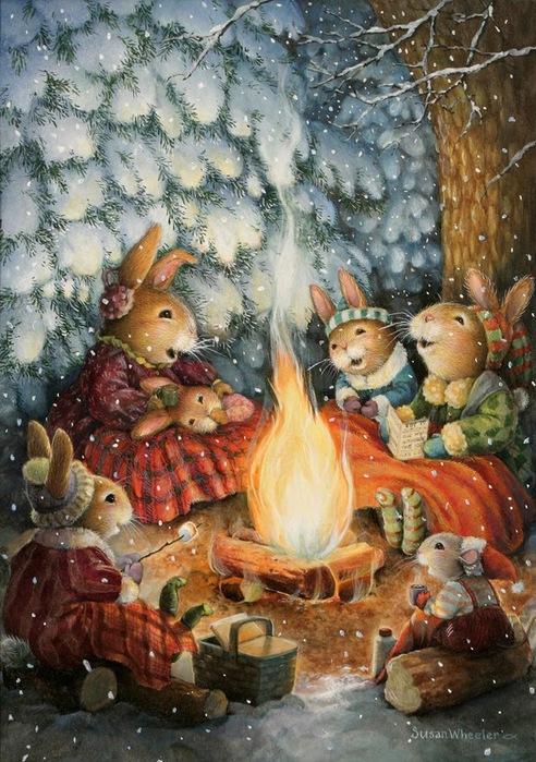 Winter Campfire Susan Wheeler (492x700, 163Kb)