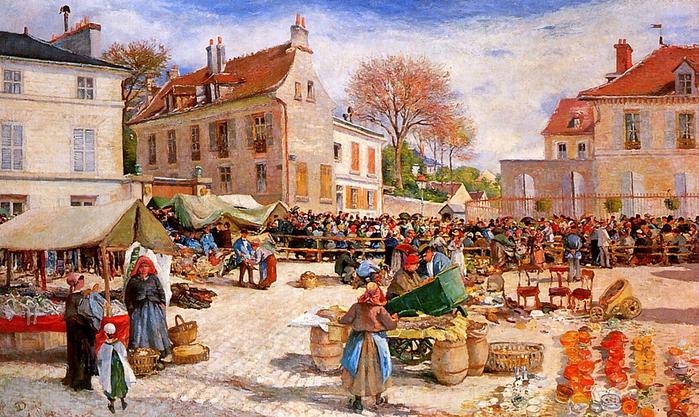 Piette Ludovic (1826-1878)-The-market-in-Pontoise-Sun (700x417, 332Kb)
