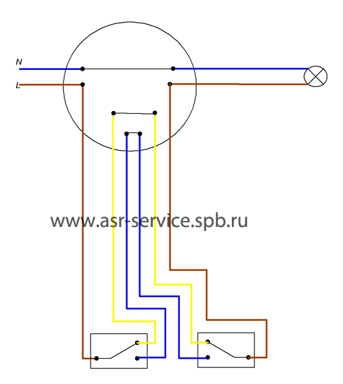 Проходной выключатель, схема