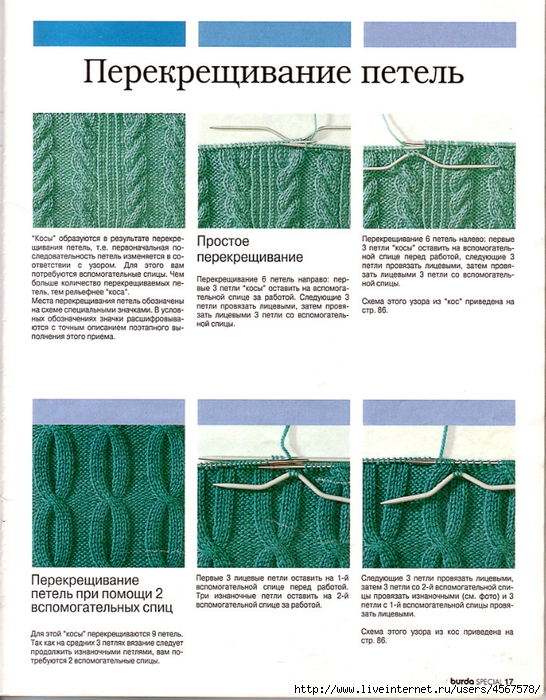 Как перекрестить косу в вязании