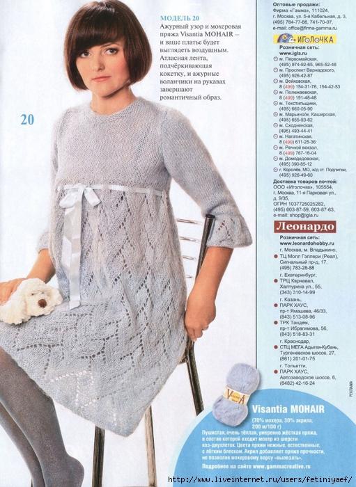 Вязаные спицами платья беременным