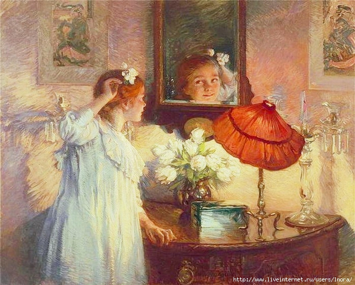 Albert Chevallier Tayler   The Mirror, 1914 (700x560, 316Kb)