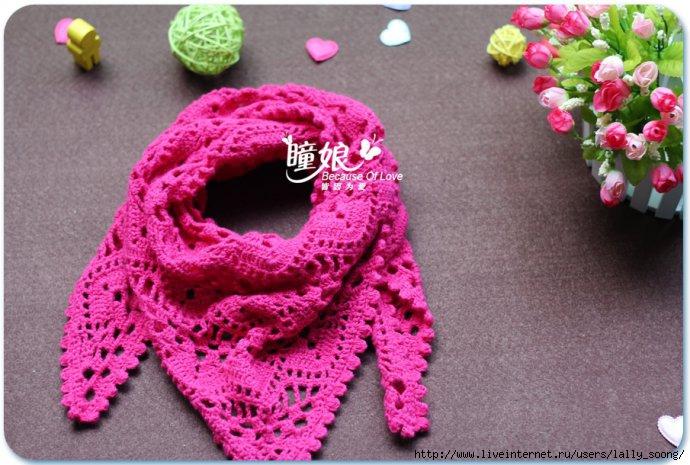 【转载】钩针钩花三角围巾披肩 crochet scarf