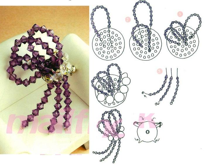 схема плетения броши из бисера - Исскуство схемотехники.