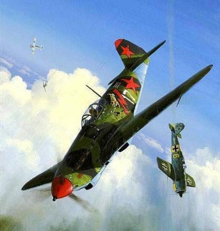 04 Як-9 Степаненко в бою (449x473, 30Kb)