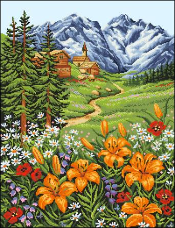15.11.2011. Просмотров: 358 Дата.  Пейзажи, строения.  Вышивка крестиком - Лилии в горах.