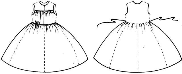 1. Сарафан без среднего шва, туникообразный.  Основной признак - цельные передние и задние полотнища.