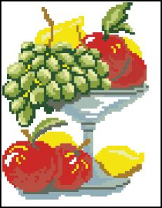 Категория.  Фрукты, Овощи, Натюрморт.  Вышивка крестиком - Ваза с фруктами.  Просмотров: 275 Дата.