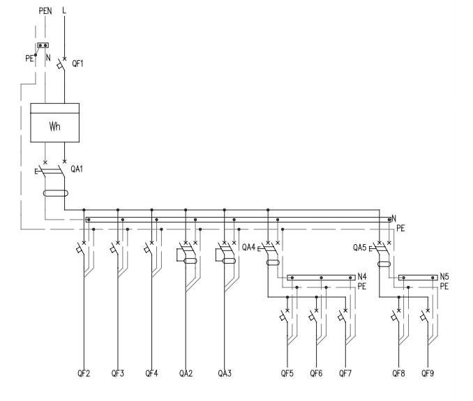 Схема щитка электрического.