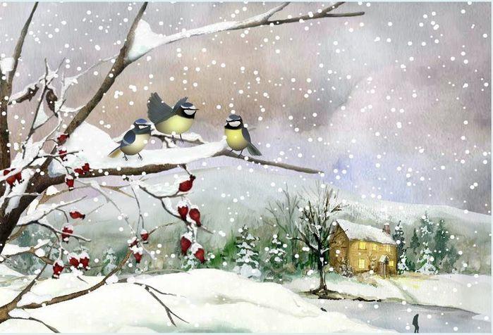 ум.Зимний пейзаж.рябина.домик (700x476, 72Kb)