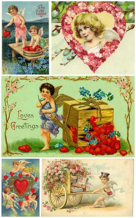 Валентинки для творчества,: декупажные карты, конверты, этикетки, винтаж, валентинки, картинки для декупажа