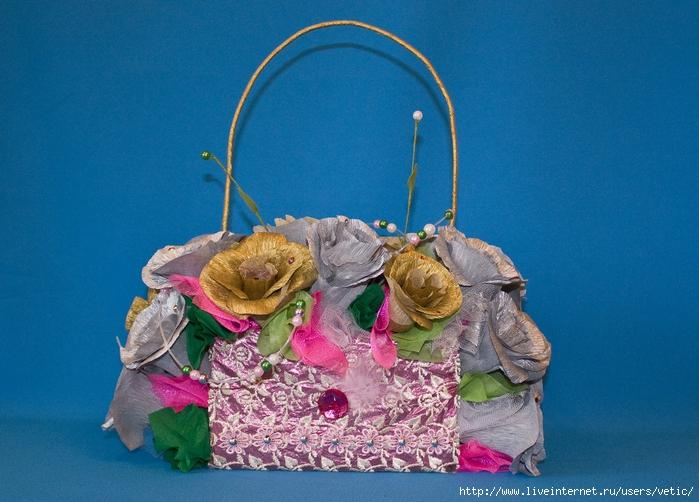 Сумочка с цветами, украшенная сухоцветами Бесплатная доставка...