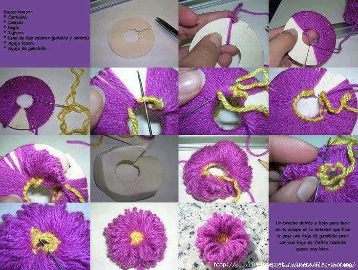 Как сделать цветок из ниток своими руками видео