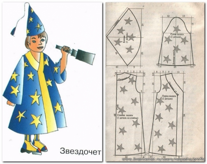Выкройка костюм звездочета для мальчика своими руками