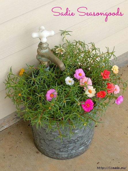 vintage-bucket-and-faucet-planter-container-gardening-flowers-gardening (445x594, 210Kb)