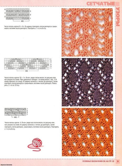 Рисунок вязания с накидами 254