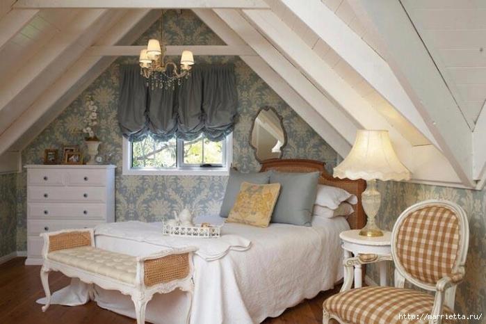Интерьер спальни в мансарде (1) (700x466, 230Kb)