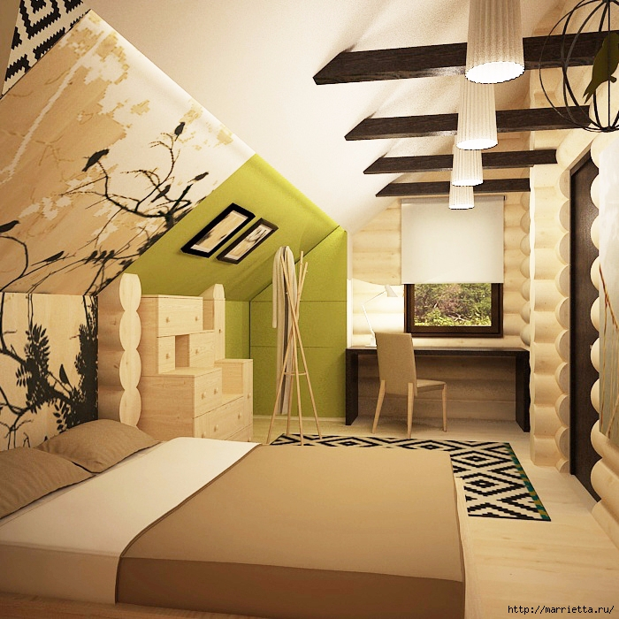 Интерьер спальни в мансарде (4) (700x700, 352Kb)